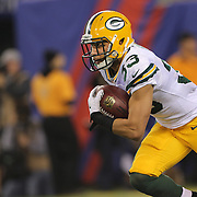 Micah Hyde, Green Bay Packers, in action during the New York Giants Vs Green Bay Packers, NFL American Football match at MetLife Stadium, East Rutherford, New Jersey, USA. 17th November 2013. Photo Tim Clayton
