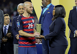 July 26, 2017 - Santa Clara, CA, USA - Santa Clara, CA - Wednesday July 26, 2017: Michael Bradley accepts the 2017 Gold Cup Champions trophy during the 2017 Gold Cup Final Championship match between the men's national teams of the United States (USA) and Jamaica (JAM) at Levi's Stadium. (Credit Image: © Bob Drebin/ISIPhotos via ZUMA Wire)