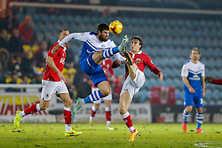 Michael Bostwick of Peterborough United and Luke Freeman of Bristol City compete in the air - Photo mandatory by-line: Rogan Thomson/JMP - 07966 386802 - 28/11/2014 - SPORT - FOOTBALL - Peterborough, England - ABAX Stadium - Peterborough United v Bristol City - Sky Bet League 1.