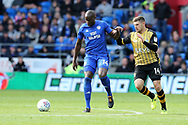 Sol Bamba of Cardiff city (l) holds off Gary Hooper of Sheffield Wednesday (r) .EFL Skybet championship match, Cardiff city v Sheffield Wednesday at the Cardiff City Stadium in Cardiff, South Wales on Saturday 16th September 2017.<br /> pic by Andrew Orchard, Andrew Orchard sports photography.