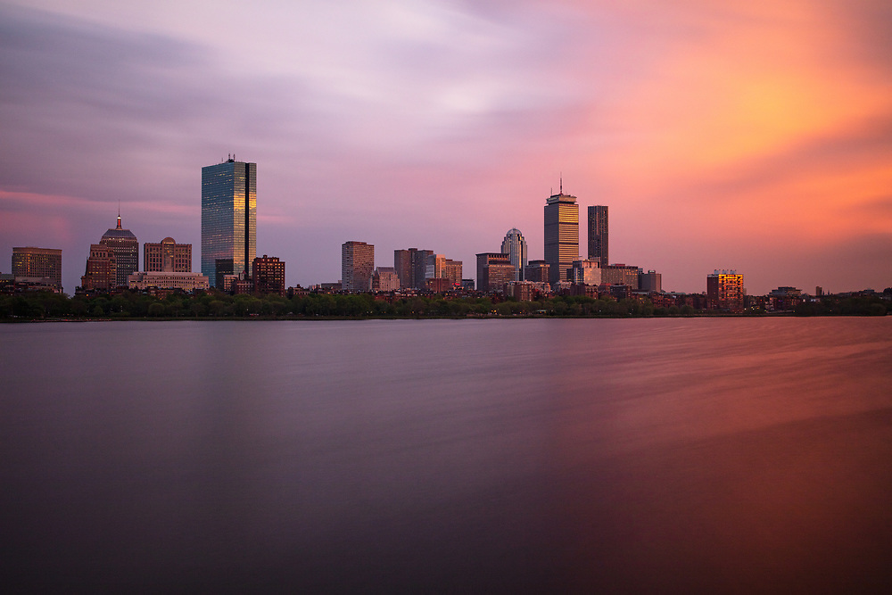 Evening view of Boston from the Cambridge side of the Charles River.