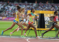 Athletics - 2017 IAAF London World Athletics Championships - Day One<br /> <br /> Event: 1500 Metres Women Qualifying heat 3<br /> <br /> Konstanze Klosterhalfen (GER) tries to push her way through the field <br /> <br /> <br /> COLORSPORT/DANIEL BEARHAM