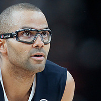 15 July 2012: Tony Parker of Team France rests during a pre-Olympic exhibition game won 75-70 by Spain over France, at the Palais Omnisports de Paris Bercy, in Paris, France.