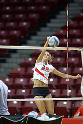 18 AUG 2007: Mallory Leggett practices her spike during pre-game warm-ups. The Illinois State Redbirds, picked for 5th in the pre-season Missouri Valley Conference coaches poll, prepare for the beginning of the season during the annual Red/White inter-squad scrimmage at Redbird Arena in Normal Illinois.