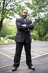 "© Licensed to London News Pictures . 23/05/2014 . Accrington , UK . UKIP candidate for a seat on Hyndburn Council in Accrington , BOBBY ANWAR , who underwent surgery after being attacked in the street prior to the local election on 22nd May 2014 . Lancashire Police reports they are investigating an attack that took place in Accrington on the afternoon of 17th May 2014 which left the victim requiring hospital treatment for a suspected fracture of an eye socket . Mr Anwar reported that both he and his children have suffered physical abuse and that he and his wife have been called "" kafirs "" ( infidels ) . Photo credit : Joel Goodman/LNP"