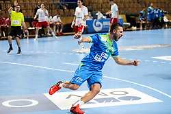 Gasper Marguc of Slovenia reacts during handball match between National Teams of Slovenia and Poland in Qualification Phase 2 of Men's EHF Euro 2022 Qualifiers, on March 9, 2021 in Arena Zlatorog, Celje, Slovenia. Photo by Vid Ponikvar / Sportida