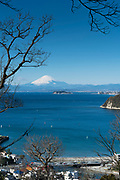 Mt Fuji  with the island Enoshima seen from Zushi
