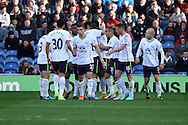 Everton's Romelu Lukaku celebrates with his teammates after scoring his teams 2nd goal. Barclays Premier league match, Burnley v Everton at Turf Moor in Burnley, Lancs on Sunday 26th October 2014.<br /> pic by Chris Stading, Andrew Orchard sports photography.