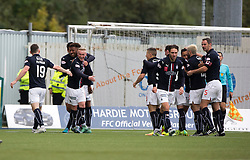 Falkirk's Myles Hippolyte celebrates with team mates after scoring their second goal. Falkirk 2 v 1 Dunfermline, Scottish Championship game played 15/10/2016, at The Falkirk Stadium.