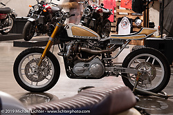 "Chopper Dave's ""Steel Shoe"" turbo-charged Sportster at the Handbuilt Show. Austin, TX. USA. Sunday April 22, 2018. Photography ©2018 Michael Lichter."