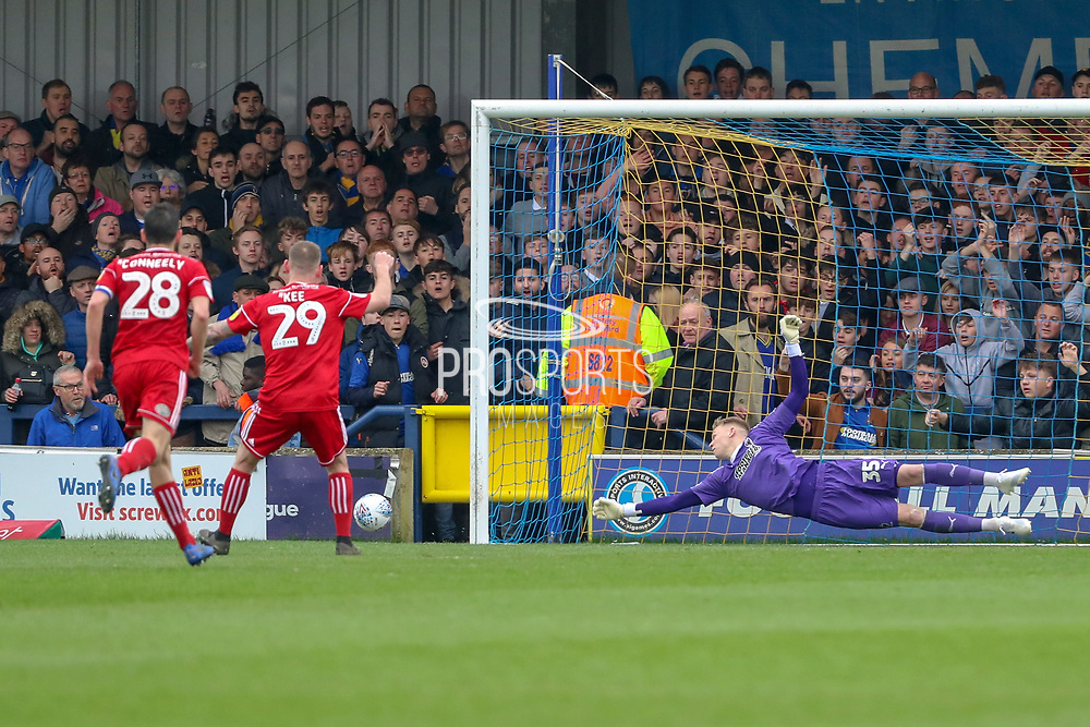 Accrington Stanley attacker Billy Kee (29) missing a penalty during the EFL Sky Bet League 1 match between AFC Wimbledon and Accrington Stanley at the Cherry Red Records Stadium, Kingston, England on 6 April 2019.