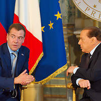MILAN, ITALY - JULY 23:    Italian Prime Minister Silvio Berlusconi in conversation with Russian President Dimitry Medvedev ahead of the press conference at Palazzo della Provincia on July 23, 2010 in Milan, Italy. Italian Prime Minister Berlusconi and Russian President Medvedev will discuss issues related to Russia's relations with NATO and the EU, energy security, and the development of bilateral trade and economic relations. .***Agreed Fee's Apply To All Image Use***.Marco Secchi /Xianpix. tel +44 (0) 207 1939846. e-mail ms@msecchi.com .<br />  www.marcosecchi.com