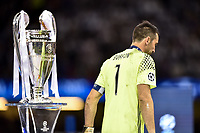 Gianluigi Buffon of Juventus looks dejected while passing by the Champions League Trophy during the UEFA Champions League Final match between Real Madrid and Juventus at the National Stadium of Wales, Cardiff, Wales on 3 June 2017. Photo by Giuseppe Maffia.<br /> <br /> Giuseppe Maffia/UK Sports Pics Ltd/Alterphotos