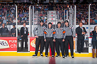 REGINA, SK - MAY 27: On-ice officials at the Brandt Centre on May 27, 2018 in Regina, Canada. (Photo by Marissa Baecker/CHL Images)
