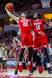 NORMAL, IL - February 26: Ja'Shon Henry and Koch Bar during a college basketball game between the ISU Redbirds and the Bradley Braves on February 26 2020 at Redbird Arena in Normal, IL. (Photo by Alan Look)