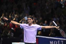November 14, 2017 - London, England, United Kingdom - Roger Federer of Switzerland celebrates victory in the singles match against Alexander Zverev of Germany on day three of the Nitto ATP World Tour Finals at O2 Arena, London on November 14, 2017. (Credit Image: © Alberto Pezzali/NurPhoto via ZUMA Press)