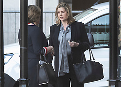 © Licensed to London News Pictures. 15/05/2019. London, UK. Defence Secretary Penny Mordaunt talks to a colleague at Parliament ahead of Prime Minister's Question's. Photo credit: Peter Macdiarmid/LNP