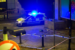 © Licensed to London News Pictures. 20 08 2020 London, UK. Police cordons and a  paramedic's first aid kit at the scene of a stabbing outside the Westferry DLR station in East London, which happened at around 7:40pm, where one man has received injuries that are not thought to be life-threatening. Photo credit: Paul Davey/LNP