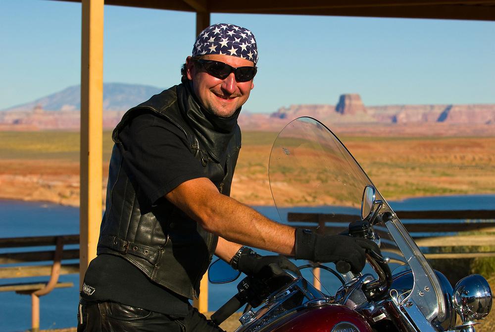 German tourists touring on Harley-Davidson motorcycles, Lake Powell, near Page, Arizona USA