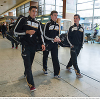 27 November 2013; Clare players Brendan Bugler, left, Tony Kelly, centre, and Colm Galvin at Dublin Airport prior to their departure for Shanghai for the GAA GPA All Star Tour 2013, sponsored by Opel. Dublin Airport, Dublin. Picture credit: Pat Murphy / SPORTSFILE