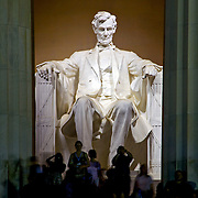 Tourists flock to the popular and impressive memorial to Abraham Lincoln in Washignton, DC
