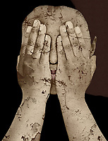 A woman's face is covered by her hands. She has perhaps seen better days. Her hands and face are badly cracked in a number of different places. There has been some significant peeling. There is a weariness to this piece that hits you in the gut, and stays with you for a long time to come. She is showing us what we do when we fail to confront racism. She is showing us that even if we aren't turning an actual blind eye to the horrors, our silence is essentially the exact same thing. This is a profound statement that reminds us to do better. .<br />