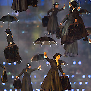 A group of performers dressed as Mary Poppins flew into Olympic Stadium at the Opening Ceremonies during the 2012 Summer Olympic Games in London, England, Saturday, July 28, 2012. (David Eulitt/Kansas City Star/MCT)