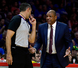 October 21, 2017 - Los Angeles, California, U.S. - Los Angeles Clippers head coach Doc Rivers talks with a official in the first quarter during an NBA basketball game against the Phoenix Suns at the Staples Center on Saturday, Oct 21, 2017 in Los Angeles. .(Photo by Keith Birmingham, Pasadena Star-News/SCNG) (Credit Image: © San Gabriel Valley Tribune via ZUMA Wire)