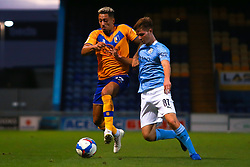 James McAtee of Manchester City holds off pressure from Kellan Gordon of Mansfield Town - Mandatory by-line: Ryan Crockett/JMP - 08/09/2020 - FOOTBALL - One Call Stadium - Mansfield, England - Mansfield Town v Manchester City U21 - Leasing.com Trophy