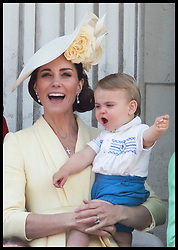 June 8, 2019 - London, London, United Kingdom - Image licensed to i-Images Picture Agency. 08/06/2019. London, United Kingdom. The  Duchess of Cambridge with Prince Louis on the balcony of Buckingham Palace at Trooping the Colour in London. (Credit Image: © Stephen Lock/i-Images via ZUMA Press)