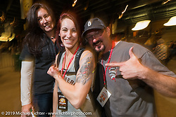 Brian and Laura Klock with their daughter Karlee at the 20th Anniversary party for the Destination Harley-Davidson dealership in Ormond Beach, FL during Daytona Bike Week. FL, USA. March 10, 2014.  Photography ©2014 Michael Lichter.