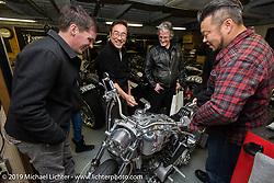 Visit with Keiji Kawakita at his Hot Dock Custom Cycles. (L>R) Ben McGinley, Keiji Kawakita, HD head of design Ray Drea and Dais Nagao. Tokyo, Japan. Wednesday, December 10, 2014. Photograph ©2014 Michael Lichter.