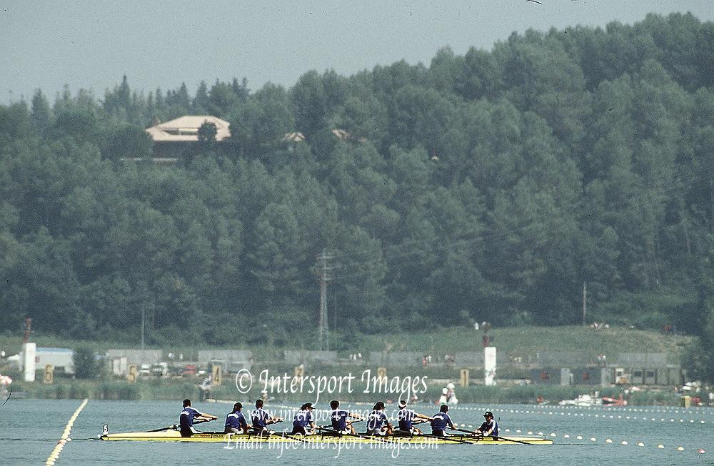 .Barcelona Olympic Games 1992.Olympic Regatta - Lake Banyoles.ROM M8+.       SPAIN. ROM M8+. Danut DOBRE, Claudiu MARIN, Vasile MASTACAN, Vasile NASTASE, Valentin ROBU, Iulica RUICAN , Viorel TALAPAN, Ioan VIZITIU, Marin GHEORGHE (c) 1992 Olympic Regatta. Lake Banyoles, Nr Barcelona SPAIN. <br /> {Mandatory Credit: ©Peter Spurrier/Intersport Images]