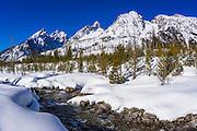 The Tetons in winter above Cottonwood Creek, Grand Teton National Park, Wyoming USA