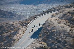 Cannonballers Fred Wacker, Frank Westfall and Tanner Whitton ride up the steep mountain pass just out of Palm Desert on the Palms to Pines Scenic Byway on the last day of the Motorcycle Cannonball Race of the Century. Stage-15 ride from Palm Desert, CA to Carlsbad, CA. USA. Sunday September 25, 2016. Photography ©2016 Michael Lichter.