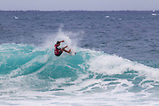 Koa Rothman advances in 2nd to round 2 from round 1 heat 3 of the Volcom Pipe Pro held at Pipeline, Oahu, Hawaii.
