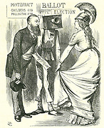 Hugh Childers (1827-1896) British parliamentarian, telling Britannia of the success of the new Ballot Box.  John Tenniel cartoon from 'Punch', London, 24 August 1872.