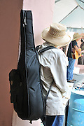 Musician waits off stage during the 2013 Tucson Folk Festival.