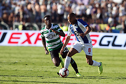 May 25, 2019 - Oeiras, Portugal - OEIRAS, PORTUGAL - MAY 25: Porto's Algerian forward Yacine Brahimi (R ) vies with Sporting's forward Abdoulay Diaby from Mali (L) during the Portugal Cup Final football match Sporting CP vs FC Porto at Jamor stadium, on May 25, 2019, in Oeiras, outskirts of Lisbon, Portugal. (Credit Image: © Pedro Fiuza/NurPhoto via ZUMA Press)