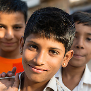 Group of Indian boys in village of Chandelao, Rajistan