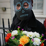 Justice Mexico Now hosts a protest on the Day to remember the dead in Mexico to remember those murdered during the Mexican Government War on drugs (which are more than 150,000 people). AND disappearance student in Mexico and around the globe on 2nd November 2017 outside Embassy of Mexico, London, UK