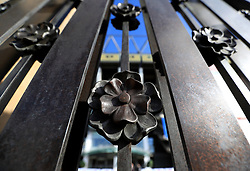 Detail of the Rose and Poppy gate at the stadium ahead of the Quilter International match at Twickenham Stadium, London