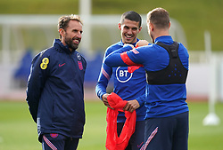 England manager Gareth Southgate (left) with Conor Coady (centre) and Jordan Henderson during a training session at St George's Park, Burton upon Trent. Picture date: Tuesday October 5, 2021.
