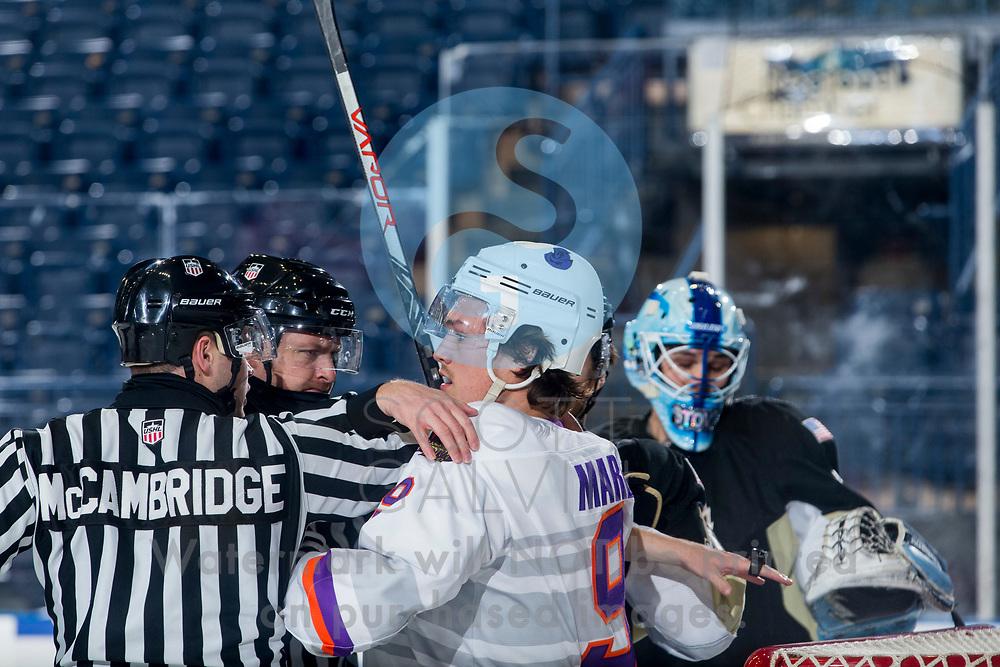 Youngstown Phantoms defeat the Muskegon Lumberjacks 4-3 in overtime at the Covelli Centre on December 5, 2020.<br /> <br /> Bradley Marek, forward, 9