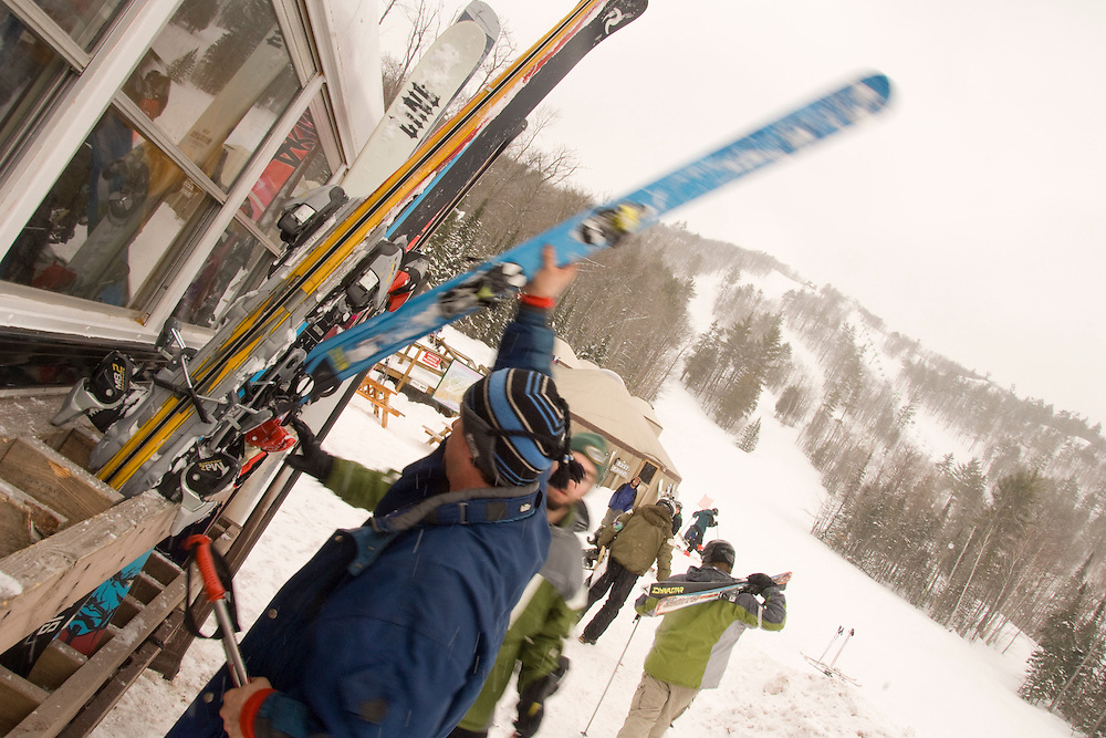 Skiers and snowboarders use the shuttle bus at Mount Bohemia ski resort in Michigans Upper Peninsula.
