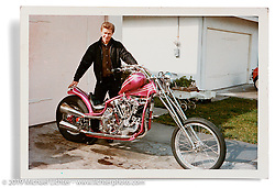 Arlen Ness in his driveway with the original Knucklehead in its second form. San Lorenzo, CA. ©1964 Ness Family Archive Photo