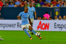 Manchester City midfielder Fernando Reges (6) controls the ball during play a the International Champions Cup match between Manchester United and Manchester City at NRG Stadium in Houston, Texas