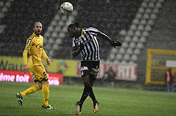 February 11, 2018 - France - illustration picture of snowing and Mamadou Fall midfielder of Sporting Charleroi (Credit Image: © Panoramic via ZUMA Press)