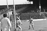 Cork sends the ball over the bar gaining a point during the All Ireland Senior Camogie Final Cork v Wexford in Croke Park on the 21st September 1975. Wexford 4-3 Cork 1-2.