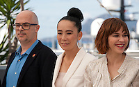 Santiago Loza, Naomi Kawase, Marie-Josee Croze at the Cinefondation and Short Films Jury photo call at the 69th Cannes Film Festival Thursday 19th May 2016, Cannes, France. Photography: Doreen Kennedy